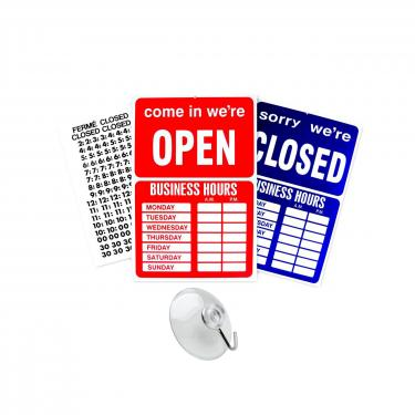Open/Close Business Sign with Suction Cup & Hours